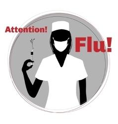 Silhouette nurse warning about epidemic flu vector
