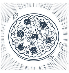 silhouette of pizza with rays vector image