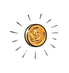 Sketch shining gold coin with dollar sign vector