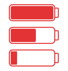 Smartphone or cell phone low battery icon low vector