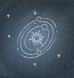 Solar system icon on chalkboard vector