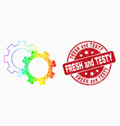 spectrum pixel cogs icon and grunge fresh vector image