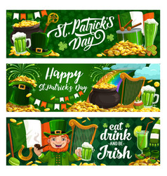 St patrick day holiday banners vector