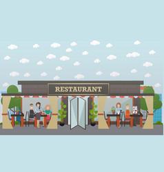 Street restaurant flat vector