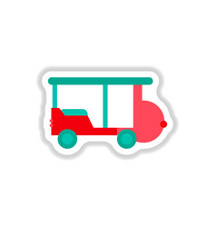 Stylish icon in paper sticker style excursion car vector