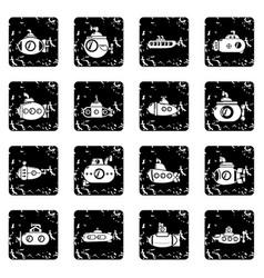 Submarine icons set grunge vector