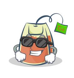 Super cool tea bag character cartoon vector