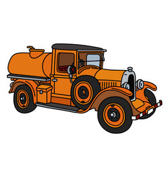The vintage orange tank truck vector
