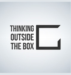 think outside the box concept with frame vector image