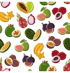Tropical dessert fruits seamless pattern vector image