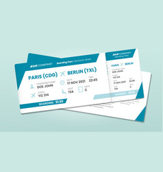 two airline tickets airplane boarding ticket with vector image
