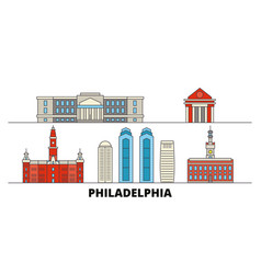United states philadelphia flat landmarks vector