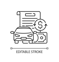 Vehicle title loan linear icon vector