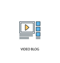 video blog concept 2 colored icon simple blue vector image