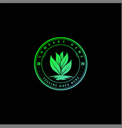 Vintage growing plant leaf leaves nature herbal vector