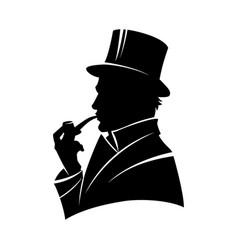 vintage monochrome gentleman silhouette vector image