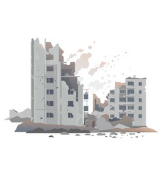 War destroyed city buildings vector