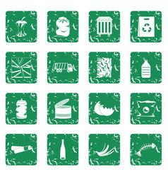 waste and garbage icons set grunge vector image