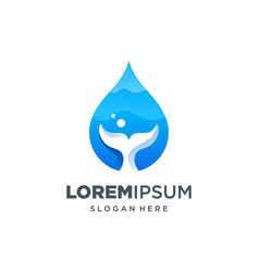Whale water drop icon natural logo vector