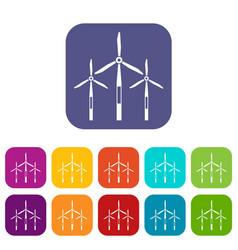 Wind generator turbines icons set flat vector