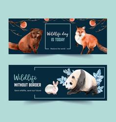 Winter animal banner design with fox panda vector