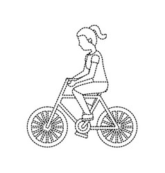 woman riding bike icon image vector image
