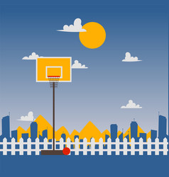 yard basketball court streetball ring red basket vector image