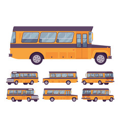 yellow retro bus vector image
