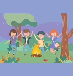 young people happy campfire nature landscape vector image