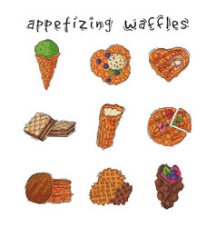 different wafer cookies waffle cakes pastry cookie vector image vector image