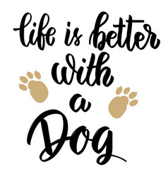 life is better with a dog hand drawn lettering on vector image