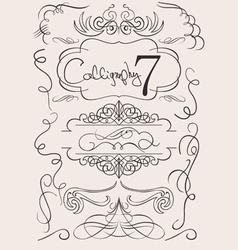 set calligraphic design elements and page decorati vector image