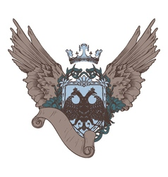 vintage crest with scroll vector image vector image