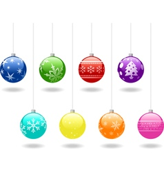 eight christmas shiny baubles set vector image vector image