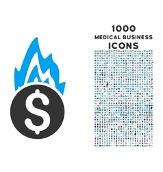 Fire Damage Icon with 1000 Medical Business Icons vector image vector image