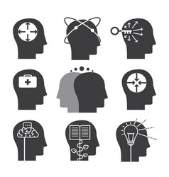 human thinking icons set of mental abilities vector image vector image