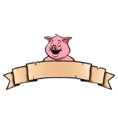 Pig with ribbon banner vector image vector image