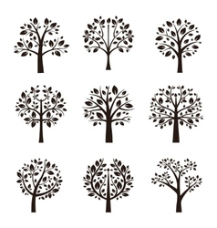 Tree silhouette with roots and branches vector image vector image
