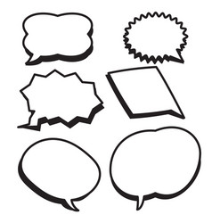 cartoon bubbles text boxes set with blank text vector image