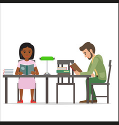 Female and male people sitting at table read books vector