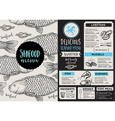Menu seafood restaurant template placemat vector image vector image