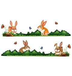 Rabbits being happy in the garden vector image vector image