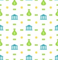 Seamless Pattern with Bank Institution Bank Notes vector image