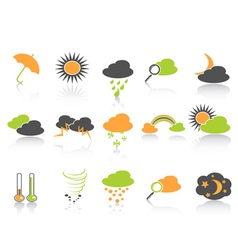 simple color weather icons set vector image vector image