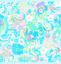 background with flowers swirls and leaves vector image