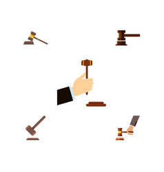flat icon court set of law court tribunal and vector image