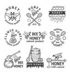 monochrome labels set with honey bees and vector image