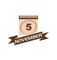 5 november calendar with ribbon vector