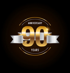 90 years anniversary celebration logotype golden vector