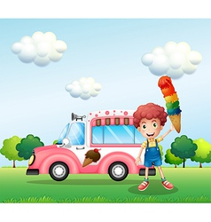 A boy holding a cone with multiple layers of ice vector